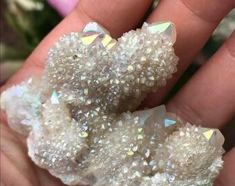 Angel Aura Spirit Quartz Crystal Cluster Aura Crystals White Angel Aura Quartz Rainbow Aura Rainbow Quartz Aura Cluster Healing Crystals  A5