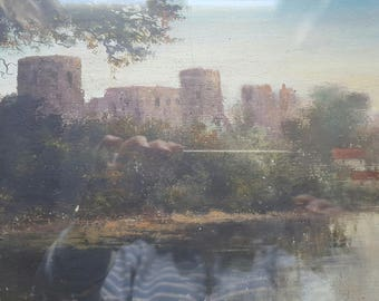Original Victorian Oil Painting of Bernand Castle