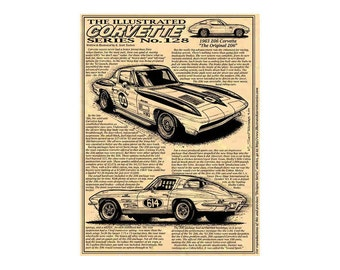 1963 Corvette,The First Production Sting Ray. Corvette Print,First Corvette Sting Ray Print,63 Coupe,63 Production,63 Sting Ray,Corvette Art