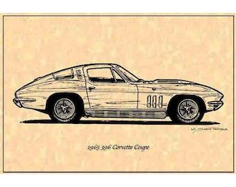 """1965 396 Corvette - """"The First Big-Block Vette"""" ICS II Profile,1965 396 Corvette,65 Corvette Sting Ray C2 Production,65 Corvette Art"""