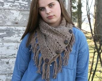 CROCHET PATTERN / crochet triangle button scarf pattern / pdf pattern / crochet button cowl pattern / fringe infinity scarf/beginner pattern