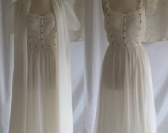 Vintage 1950's White Chiffon Peignoir Set