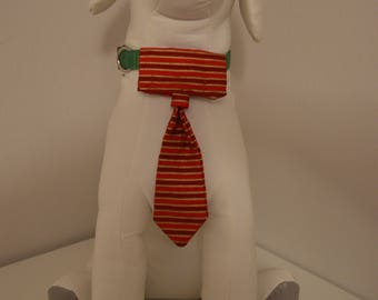 Dog Collar Neck Tie - Small - Red/Gold Stripe