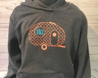 Monogrammed Camper Shirt/ vintage camper/ monogrammed gift/Valentines Day gift for her