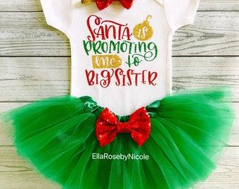 Santa Is Promoting Me To Big Sister Baby Girl Outfit / Big Sister / Christmas Pregnancy Announcement / Christmas Big Sister Outfit