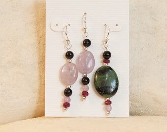 Evening in the Forest: ruby in zoisite, ruby, and amethyst earrings