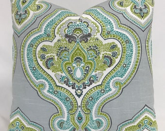 Pillow Cover - Modern Medallion Style Design - Gray Aqua Lime Pillow - Fully  Lined - Invisible Zippered
