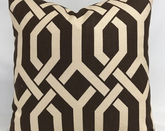 Pillow Cover - Chocolate Brown Pillow - Geometric Design - Modern Pillow - Brown Cream Pillow - Fully Lined - Zippered