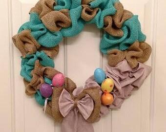 Teal, Tan and Purple Wreath, Spring Wreath, Summer Wreath, Front Door Wreath, Indoor Wreath, Year Round Wreath