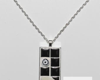 Necklace mosaic black and white 1 X 2 inches