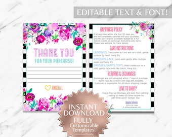 Instant Customizable Floral Striped Fashion Consultant and LLR Thank You and Care Instruction Cards TEMPLATES