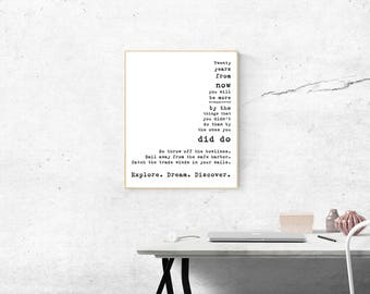 Quote Art Print Travel Decor, Mark Twain Inspirational Quote, Travel Art for your Home Decor, explore dream discover, twenty years from now
