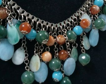 Vintage multi colored and multi beaded necklace