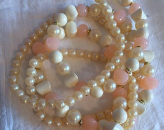 Lucite and Faux Pearl Beaded Necklace
