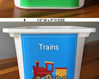 Train decal, Toy Box Decals, Adhesive Labels for toy bins, Train illustration, Train Storage, Labels for organizing toys, Ikea bin labels