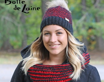 Women hat and scarf, women infinity scarf, women hat, black and red, Tunisian Crochet and knitting