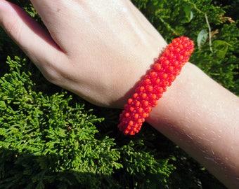 Red puffy bracelet / Caterpillar bracelet / Round bracelet / Gift for her