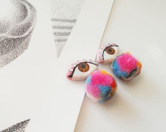 Eye Earrings, Evil Eye, Pom Pom  earrings, Seeing Eye Earring, Eye Stud Earrings, pink,  Brown eyes, earrings pom-pom, Fan Earrings