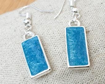 50% OFF SALE Aqua Water Ocean Waves Surf Blue Resin Earrings Silver Plated Womens Jewellery