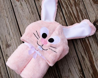 Bunny Adult Size Hooded Towel  / Extra Large Adult Hooded Towel / XL Hooded Towel / Easter Bunny hooded towel / Adult hooded towel