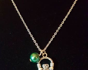 Silver Irish Claddagh Charm with a Emerald Green Pearl necklace