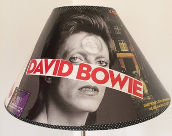 """David Bowie """"Starman"""" Upcycled Unique Lampshade."""