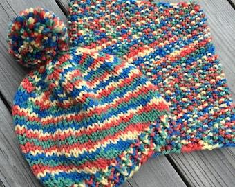 Rainbow Toddler Cowl and pom pom hat set