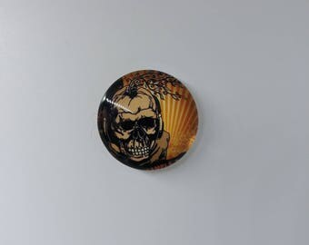 20 mm round glass Cabochon. Domed top and flat bottom. Santa Muerte, Mexican Skull, skull theme
