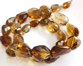 Beer Quartz Faceted beads , 9X11 mm to 12X20 mm , 16 inch strand approx, Nuggets beads