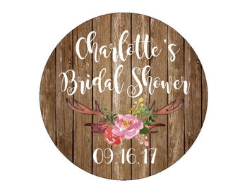 Bridal Shower Favor Stickers Wedding Date Labels Tags Country Wedding Shower Floral Antlers Branch Flowers Watercolor Rustic Warm Wood