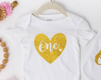 1st Birthday Girl IRON ON Transfer Decal Heat Transfer Gold Silver Rose Gold Glitter One Heart Birthday Party Cake Smash Outfit