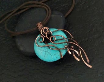 Turquoise necklace Large Asymmetric pendant Wire wrapped jewelry Boho necklace Copper wire wrap pendant Anniversary Wife Gift for mom