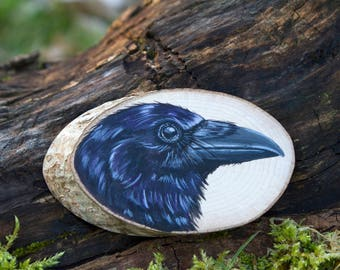 Crow painting, Original wildlife art, painted wood slice, painting on wood, miniature art, British birds, British wildlife, nature, corvid