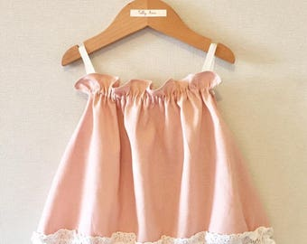 Girls Pink Linen And Lace Top