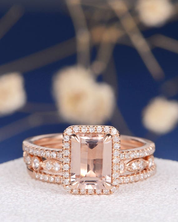 Art Deco Morganite Wedding Set Emerald Cut Engagement Ring Rose Gold Bridal Dainty Diamond Eternity Band Halo Anniversary Minimalist 3pcs