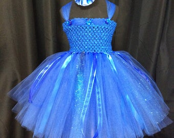 Royal blue fairy tutu dress w/matching headband and wings; birthday outfit; fairy costume for babies; blue fairy costume for little girls