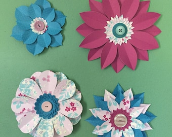 Large Blue, Pink, and Magenta Paper Wall Flowers, Nursery Decor, Party Decor