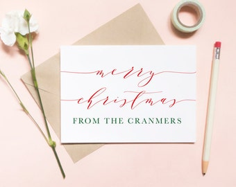 Merry Christmas from the Mr and Mrs, customized last name family holiday card, christmas card, holiday greeting / SKU: LNHO03