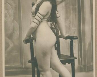 Art Nouveau Seductive Dance | 1900's French Erotic Postcard | Scheherazade Harem Nude | Serpent Arm Bangle | Belle Époque | Orientalism |