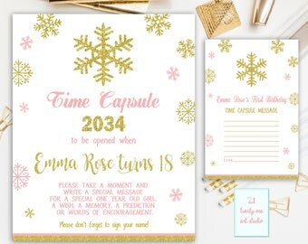 Winter Time Capsule Sign, First Birthday Time Capsule, Snowflakes Time Capsule + Matching Note Cards, Printable Pink and Gold Sign
