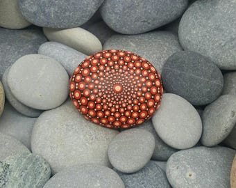 Red Mandala Stone - Painted Rock - Chakra - Mandala Art - Painted Stone - Mandala Rock - Zen