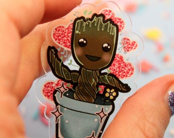 lil bub groot!- Laser Cut Illustrated Acrylic Brooch - tattoo flash design pin collar clip guardian of the galaxy marvel
