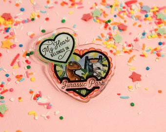 My heart belongs in jurassic park! - Laser Cut Illustrated Acrylic Brooch - tattoo flash design pin collar clip  dinosaur world