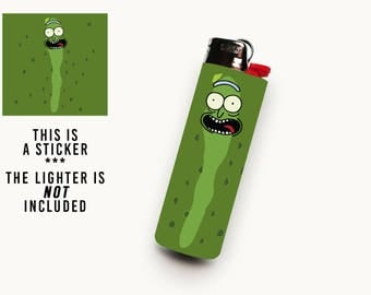PICKLE RICK • Waterproof Vinyl Lighter Sticker For BIC Lighter • Rick Face On Trippy Green Pickle