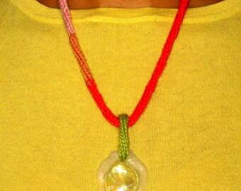 Pendant orange, green, pink, wool, glass stone Medallion pendant, Orange, green, pink, wife, daughter, handmade, Unique, Original