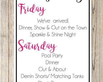 Bachelorette Invite Weekend  ITINERARY /SCHEDULE Insert Las Vegas Weekend Invitation Printable