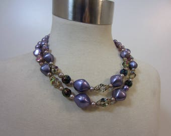 Lavender Beaded Two-Strand Statement Necklace With Faux Pearls & Aurora Borealis Crystals