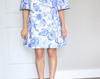 Blue And White China Print Fit & Flare Dress - Ready To Ship