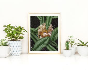 Masquarade Print, Masquarade Poster, Masquarade Wall Art, Victorian Print, Victorian Art, Victorian Poster, Palm Leaf Print, Plant Print