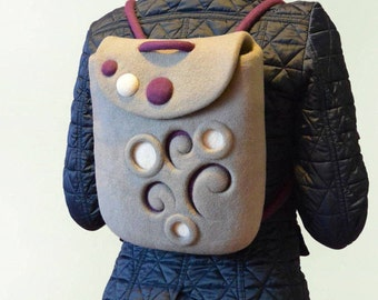 Gray Wool Fashion Small Backpack, Hand Felted Backpack
